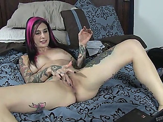 Tattooed whore with natural whoppers dildoing and fucking doggy position