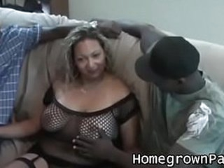 Amateur MILF fucked by chubby dark cocks