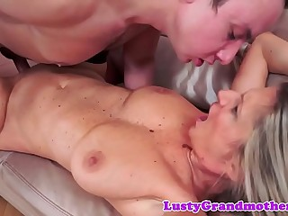 Busty gilf close to stockings gets pounded deeply