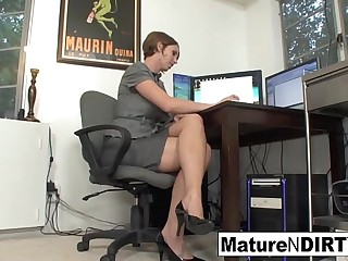 Busty MILF chartered accountant fucks the brush favorite customer
