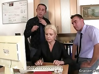 Granny guzzles two cocks at labour interview