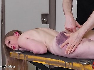 Shop-worn golden gets fed piss, hale hung from the brush own up to bandages and fucked in the ass (Rebel Rhyder)