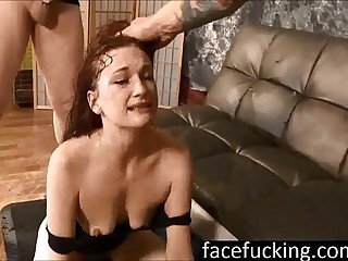 (new) Chastity Mae swallows cocks deep and pukes hard