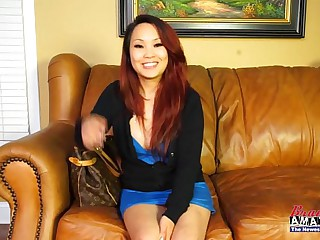 Asian amateur girl gets dirty on sling couch