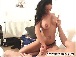 Well-endowed amateur Milf blowjob and roger give cum in the sky tits