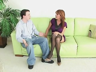 Cougar approximately stockings heels fucks near son band together HD