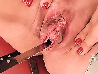 Peehole Charge from & Gaping! Leaf & Forks Werid Pussy Insertion!
