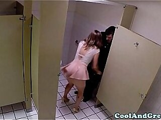 Housewife big facial in caff restroom