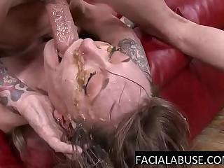 Shrunken MILF mouth fucked to puke