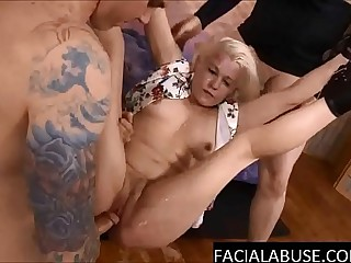 Nasty cunt does ass to indiscretion & throat fucked to puke