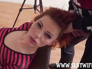 Duteous Redhead Lackey Girl Enjoys A Brutal Scruffy Upside-Down Facefuck