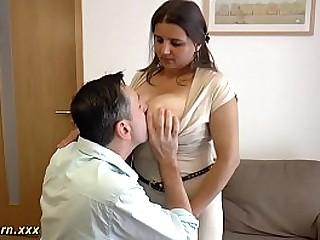 Cyclopean mamma german gives hot titjob