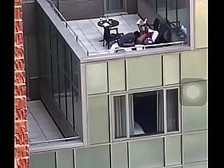 Ebony Gets Her Pussy Eaten On Extremist York Balcony