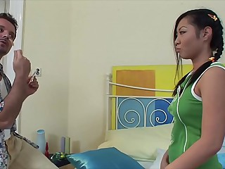 Lollipop caring Asian teenager Courtney rides big veiny dick abyss & hard 20 min